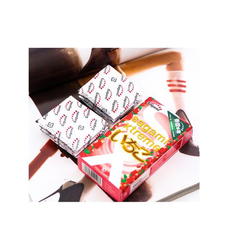 Combo 2 hộp bao cao su sagami xtreme strawberry hộp 10 - tặng kèm 1 hộp bao cao su 3 chiếc - hàng chính hãng