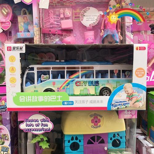 Bán đồ chơi xe bus sắt màu xanh [đồ chơi an toàn]