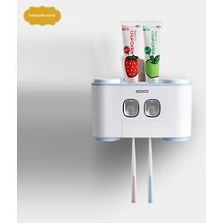 Bộ nhả kem đánh răng, giá treo bàn chải kèm 4 cốc cao cấp, thiết bị vệ sinh cá nhân tiện ích