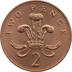 Đồng xu 2 pence Anh đẹp - tiền xu to - tiền xu sưu tầm