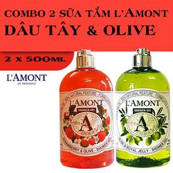 Combo 2 chai Sữa Tắm LAmont En Provence Hương Dâu Tây và Hương Oliu 500ml-chai
