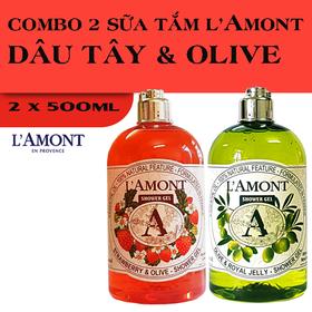 Combo 2 chai Sữa Tắm LAmont En Provence Hương Dâu Tây và Hương Oliu 500ml-chai - DÂU TÂY + OLIU