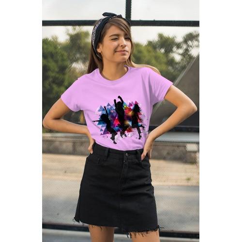 Áo thun nữ in hình mọi người đang chảy múa - cotton thun - phong cách dẽ thương - cá tính và đẹp