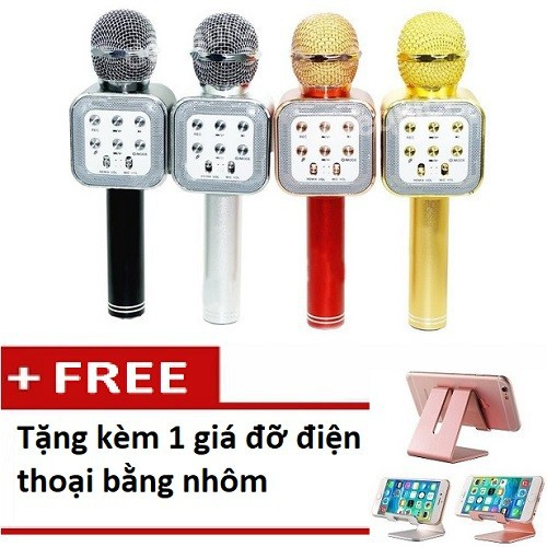 Micro karaoke 1818 tặng kèm giá đỡ điện thoại bằng nhôm