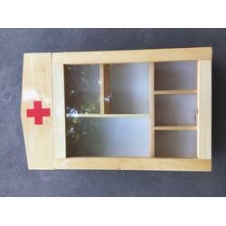 Tủ thuốc gỗ treo tường loại to 6 ngăn