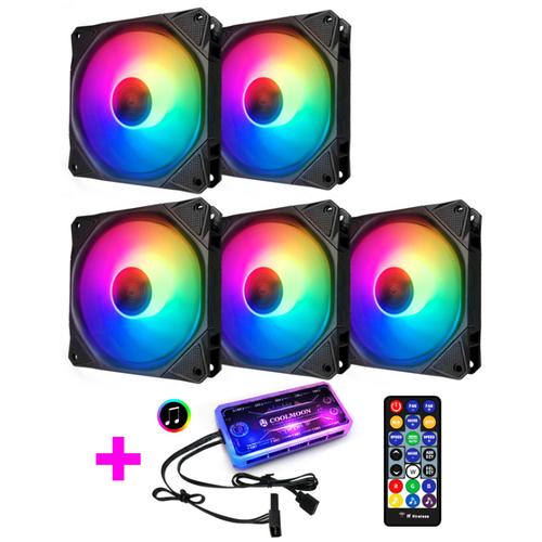 Bộ 5 quạt tản nhiệt, fan case coolmoon x led rgb 16 triệu màu, 366 hiệu ứng - kèm bộ hub sync main, đổi màu theo nhạc