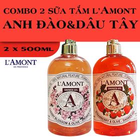 Combo 2 chai Sữa Tắm LAmont En Provence Hương Hoa Anh Đào và Hương Dâu Tây 500ml-chai - ANH ĐÀO + DÂU TÂY