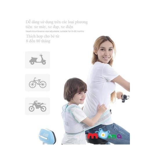 Dây đai địu cho em bé từ 8 tháng đến 6 tuổi, trẻ em đi xe máy, honda, xe đạp, xe điện cùng người lớn vải lưới 3d thông thoáng khí êm ái_bb09-ddb