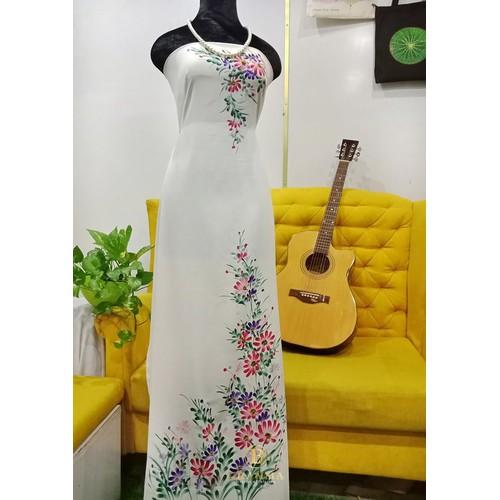[Vải áo dài handmade]#23 vải áo dài vẽ tay đẹp - brahma