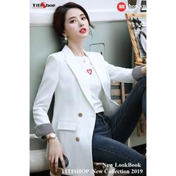 Aó vest Blazer Titishop ANN163 Luxury trắng