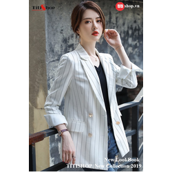 Aó vest Blazer Titishop ANN157 Luxury Sọc trắng