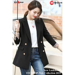 Aó vest Blazer Titishop ANN162 Luxury đen