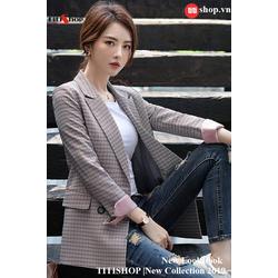 Aó vest Blazer Titishop ANN159 Luxury Sọc hồng