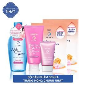 Hộp quà sản phẩm Senka trắng hồng chuẩn Nhật [SRM Collagen 120g, CN Serum CC 40g, All Clear Water 230ml, Mask 25ml] - 95105