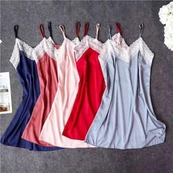 Váy ngủ lụa satin viền ren ngực  siêu mát cao cấp Đồ ngủ Đồ lót