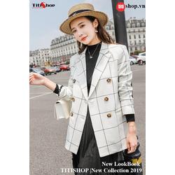 Aó vest Blazer Titishop ANN161 Luxury Sọc trắng