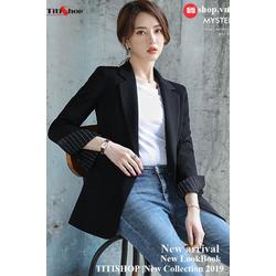 Aó vest Blazer Titishop ANN167 Luxury đen