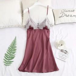 Váy ngủ lụa satin viền ren cao cấp đính nút ngực đồ bộ đồ lót nữ