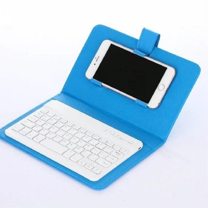 Bàn phím Bluetooth kèm bao da đa năng cho điện thoại, máy tính bảng tặng Cáp sạc
