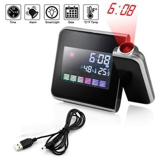 Đồng hồ báo thức kiêm nhiệt độ, độ ẩm, lịch có đèn chiếu giờ lên tường, trần nhà - DHCG.8190 thumbnail