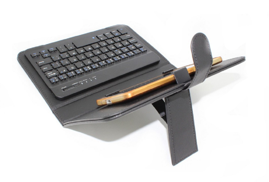 Hình ảnh Bàn phím Bluetooth kèm bao da đa năng cho điện thoại, máy tính bảng tặng Cáp sạc