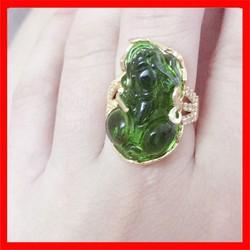 Nhẫn nữ Tỳ Hưu phong thủy cao cấp đá xanh
