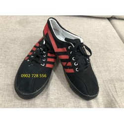 Khuyến mãi Giày Bata vải Bình Minh đế đinh màu đen sọc đỏ- Hình thật, hàng sẵn
