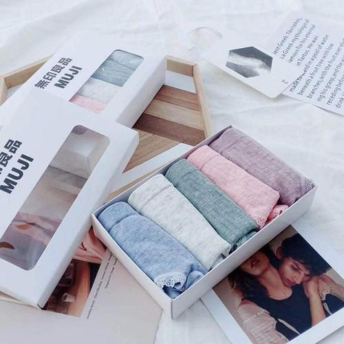 Hộp 5 quần lót nữ muji len tăm xuất nhật - ltxn-hộp 5 quần lót nữ muji len tăm xuất nhật - ltxn