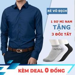 TẶNG 3 ĐÔI TẤT MIỄN SHIP ĐƯỢC XEM HÀNG Combo áo sơ mi nam dài tay phong cách Hàn Quốc tặng kèm 3 đôi tất cổ ngắn cao cấp