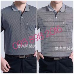 Áo thun dài tay thu cho bố cotton giấy mỏng mát hàng quảng châu