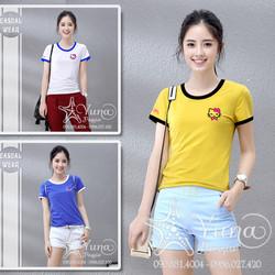 Áo Cotton Thun Thái Phối Viền Thêu Kitty Cao Cấp - Yuna Boutique [Mua 2 Áo Tặng 1 Khẩu Trang Su Dày Kháng Khuẩn]
