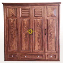 Tủ quần áo gỗ cẩm lai 4 cánh giá rẻ