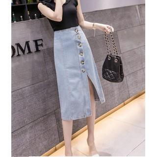 Chân váy jean nút to xẻ tà - Chân váy nữ - C167 thumbnail