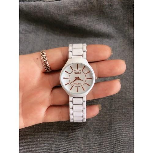 Tặng pin đồng hồ và hộp đựng-đồng hồ thời trang nữ rosra s6 full trắng qs763