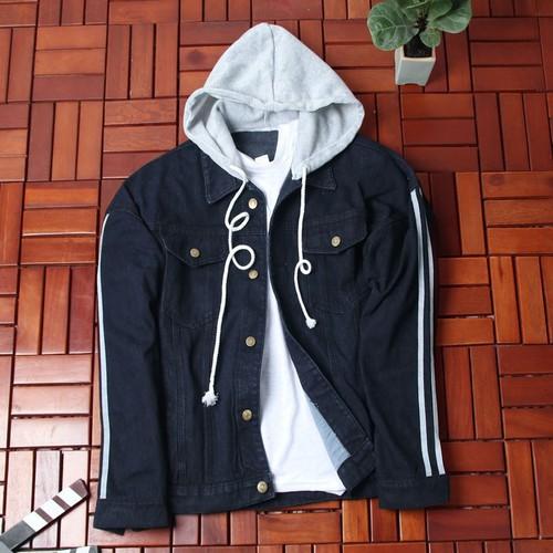 Áo khoác jean nam xanh đen có nón siêu đẹp sg453 saosaigon