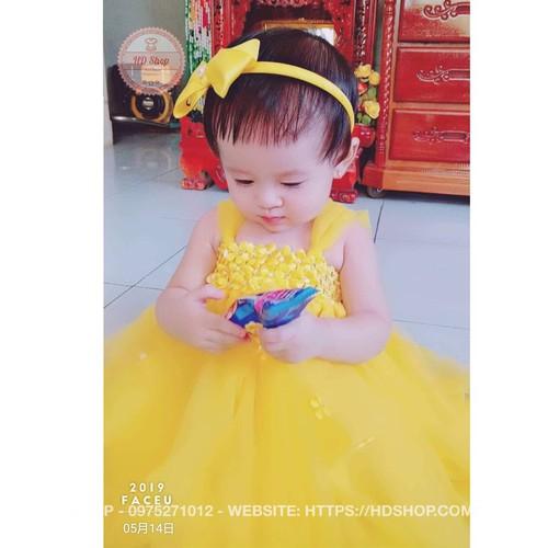 Váy tu tu vàng hoa nhí cho bé thôi nôi