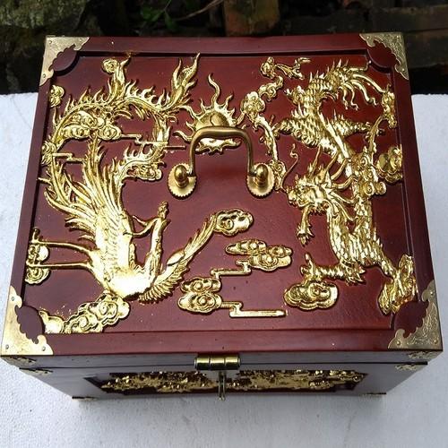 Hộp đựng nữ trang, tài liệu trạm khắc tứ linh có dát vàng - 17681863 , 22042817 , 15_22042817 , 1150000 , Hop-dung-nu-trang-tai-lieu-tram-khac-tu-linh-co-dat-vang-15_22042817 , sendo.vn , Hộp đựng nữ trang, tài liệu trạm khắc tứ linh có dát vàng