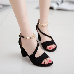 Giày sandal cao gót hở mũi nữ 7 cm