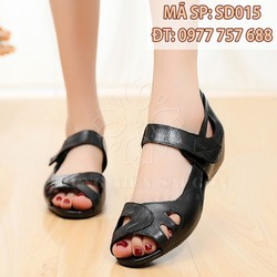 Sandal da nam trung niên đế cao 4cm màu nâu/đen [form nhỏ]
