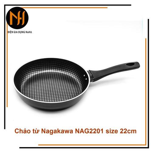 Chảo chống dính 5 lớp, đáy từ nagakawa nag2201 size 22cm