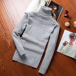 Áo len thừng cổ lọ kiểu đan phối màu ghi sáng