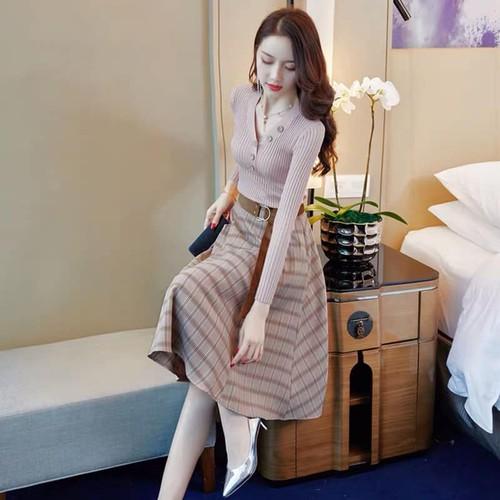 X8168 - set áo len và chân váy hàng nhập