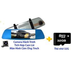 Camera Hành Trình Ốp Gương Cảm Ứng 7in + Thẻ Nhớ 32G
