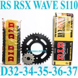NSD RS,RSX,Wave S110 Size 14T-15T...D32T-34T-35T-36T-37T-38T Nhông Dĩa Recto Sên DID Đen Chính Hãng Của Nhật