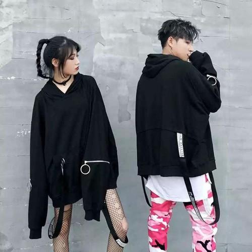 Áo hoodie khóa tay kèm phụ kiện khoen túi unisex