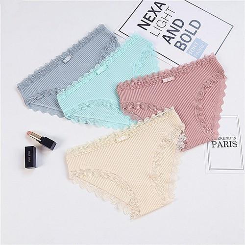 Combo 3 quần lót nữ tăm viền ren xuất nhật có nơ lt22