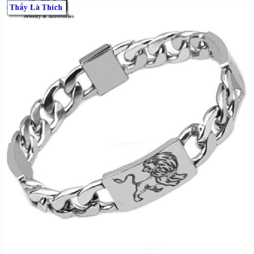 Lắc tay nam inox thấy là thích kiểu khoen nối chạm khắc hình sư tử - cam kết 1 đổi 1 nếu hoen , gỉ sét