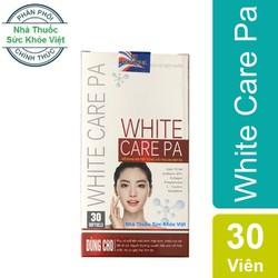 WHITE CARE PA - Viên uống giúp hỗ trợ điều trị nám da, sạm da, tàn nhang, dưỡng trắng da. Giúp làm mờ và ngăn ngừa xuất hiện các vết thâm, nám, tàn nhang, đồi mồi
