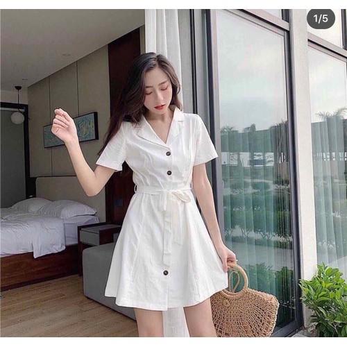 Đầm vest trắng cột eo