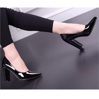 [Được xem hàng ]Giày gót trụ 7p da bóng chuẩn hình - GGTT7PB thumbnail